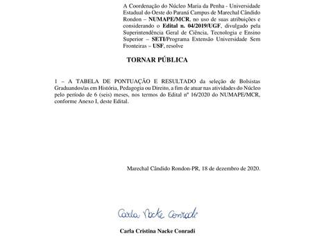 EDITAL 22/2020 - Resultado e Tabela de Pontuação do Processo Seletivo para Bolsista Graduando/a