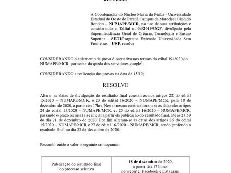 EDITAL 20/2020 - Alteração do cronograma de resultados finais e prazo recursal