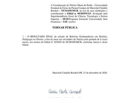 Edital 24/2020 - Resultado Final do Processo Seletivo para Bolsista Graduando/a
