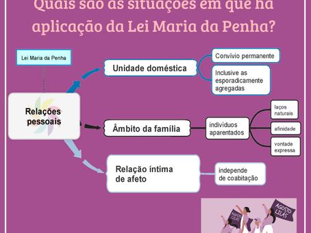Quais são as situações em que há aplicação da Lei Maria da Penha?