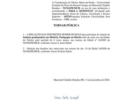Edital 18/2020 - Homologação das Inscrições do Processo Seletivo para Bolsista Graduando/a