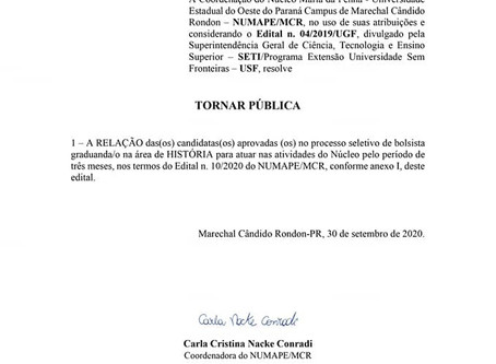 Relação de aprovados no Processo Seletivo de Graduando/a em História - Edital n. 13/2020
