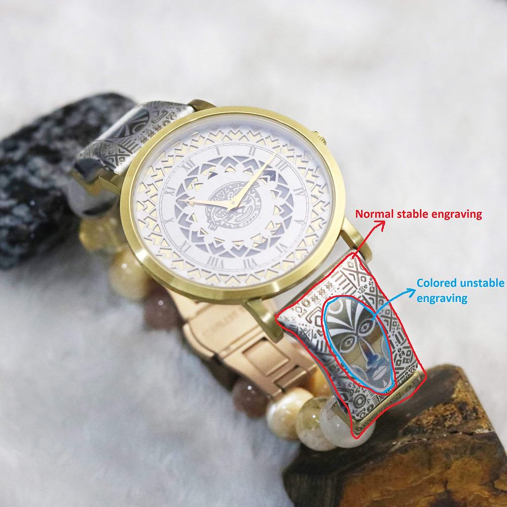 Luxury watch and straps. Engraving