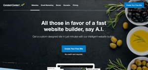 """The Constant Contact homepage, which reads: """"All those in favour of a fast website builder, say A.I. Get a custom designed site in just minutes with our intelligent website builder."""""""