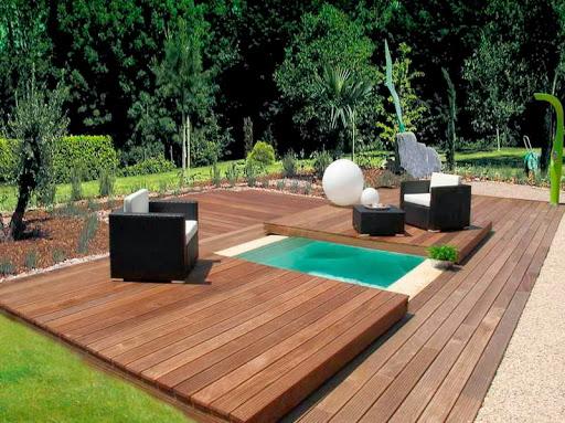 terrasse escamotable de piscine en bois