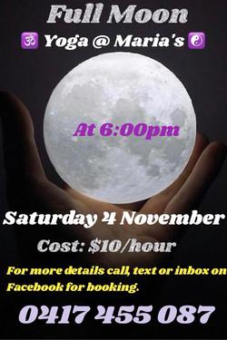 Full Moon Yoga Saturday 4 November