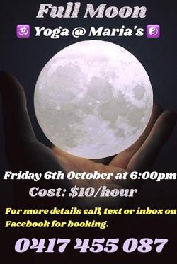 Full Moon Yoga @ Maria's Fri. 6 Oct.