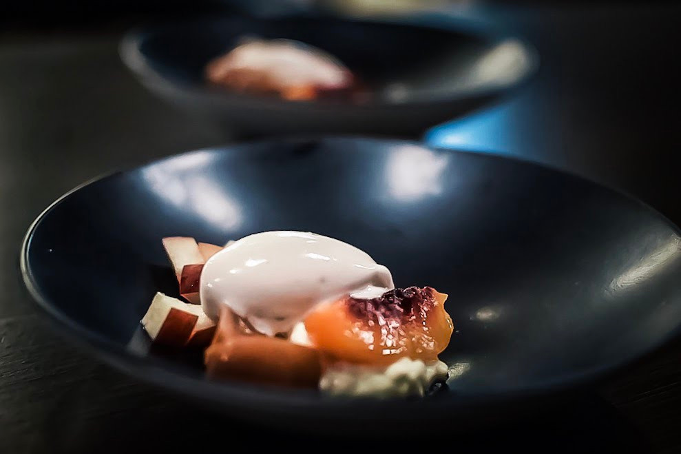 Saxe | poached stone fruit & chilled rice pudding