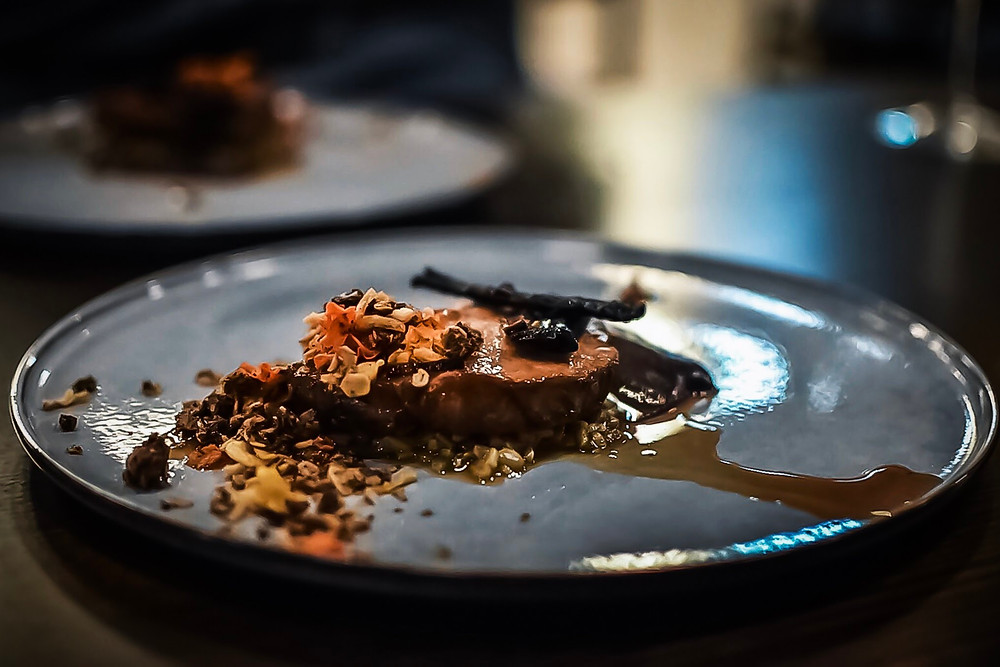 Saxe | pork, burnt carrot puree, coffee granola & soy milk jus