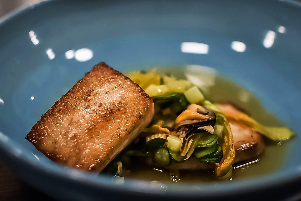 Saxe | swordfish, zucchini flower & mussel