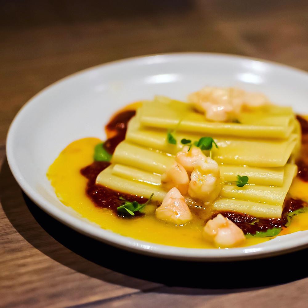 Osteria Ilaria | Paccheri pasta, Crystal Bay prawns