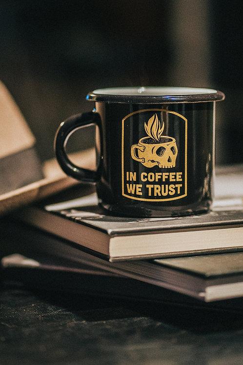 In Coffee We Trust Enamel Mug