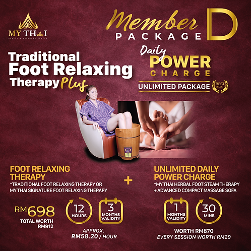 Member Package D  Foot Relaxing Therapy + Daily Power Charge Unlimited Package