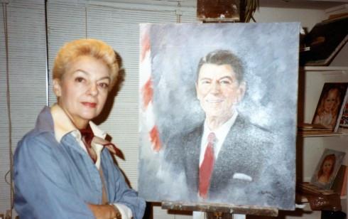 82 Helene with Reagan painting II