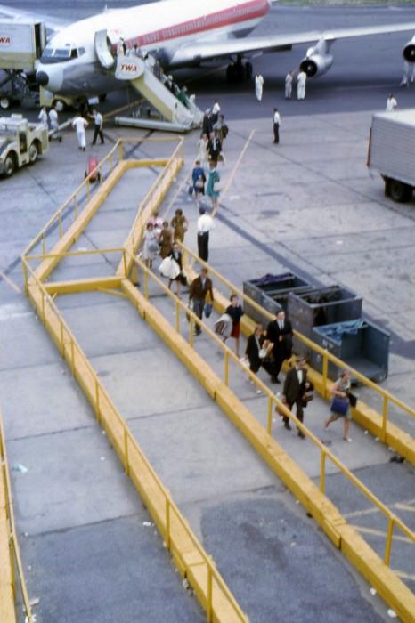 1960s airport TWA airplane