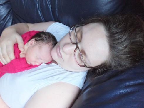 Sam Chardin with baby