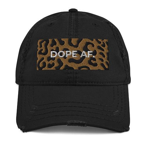 Cheetah Dope AF. Distressed Dad Hat