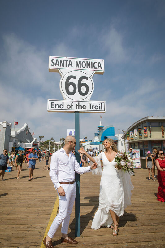 Kon & Bianca's Malibu Destination Small Wedding at the Santa Monica Pier