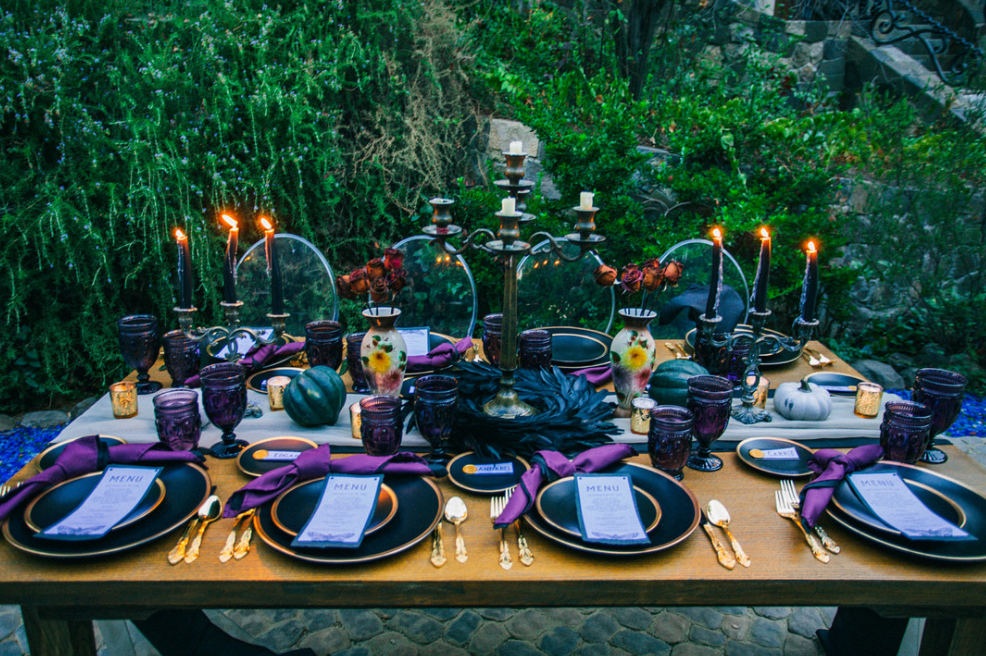 Autumn & Aaron's Lobo Castle Wedding Guest Table Halloween
