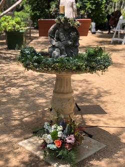Elisa & Nick's Garden Wedding Ceremony Fountain Flowers
