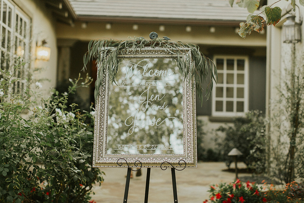 Welcome to the Wedding Calligraphy Sign on Mirror