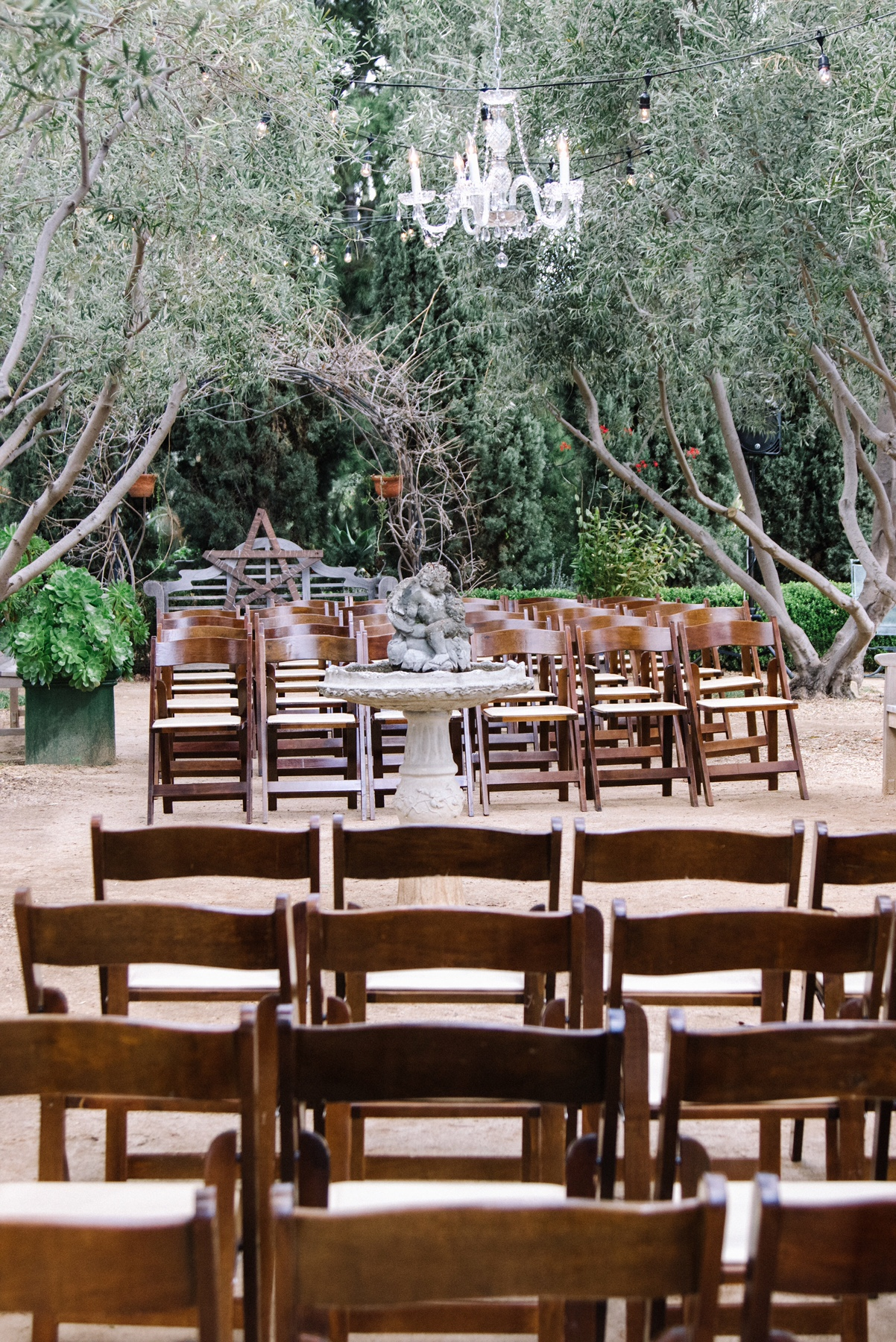 John & Estee's Arlington Garden ceremony Set Up with Chandelier 2