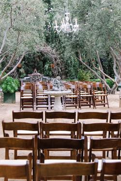 John & Estee's Arlington Garden ceremony Set Up with Chandelier 2
