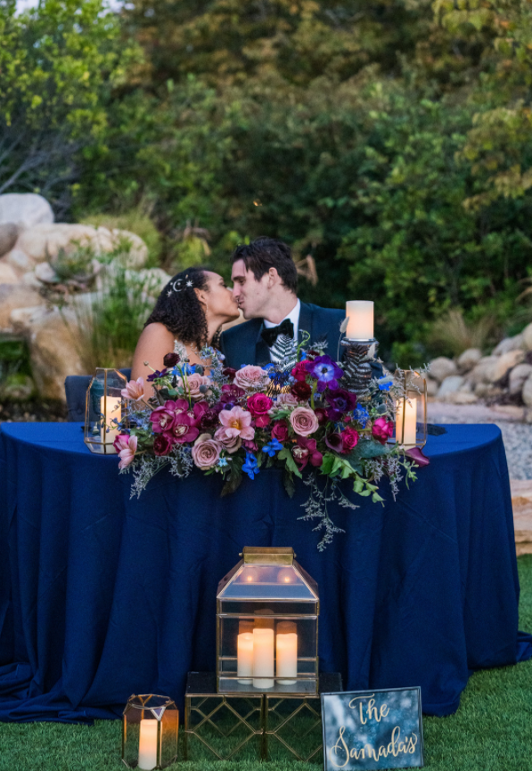 Kara & Nick's Los Robles First Kiss Sweetheart Table