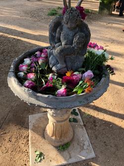 John & Estee's Arlington Garden Bird Bath with flowers