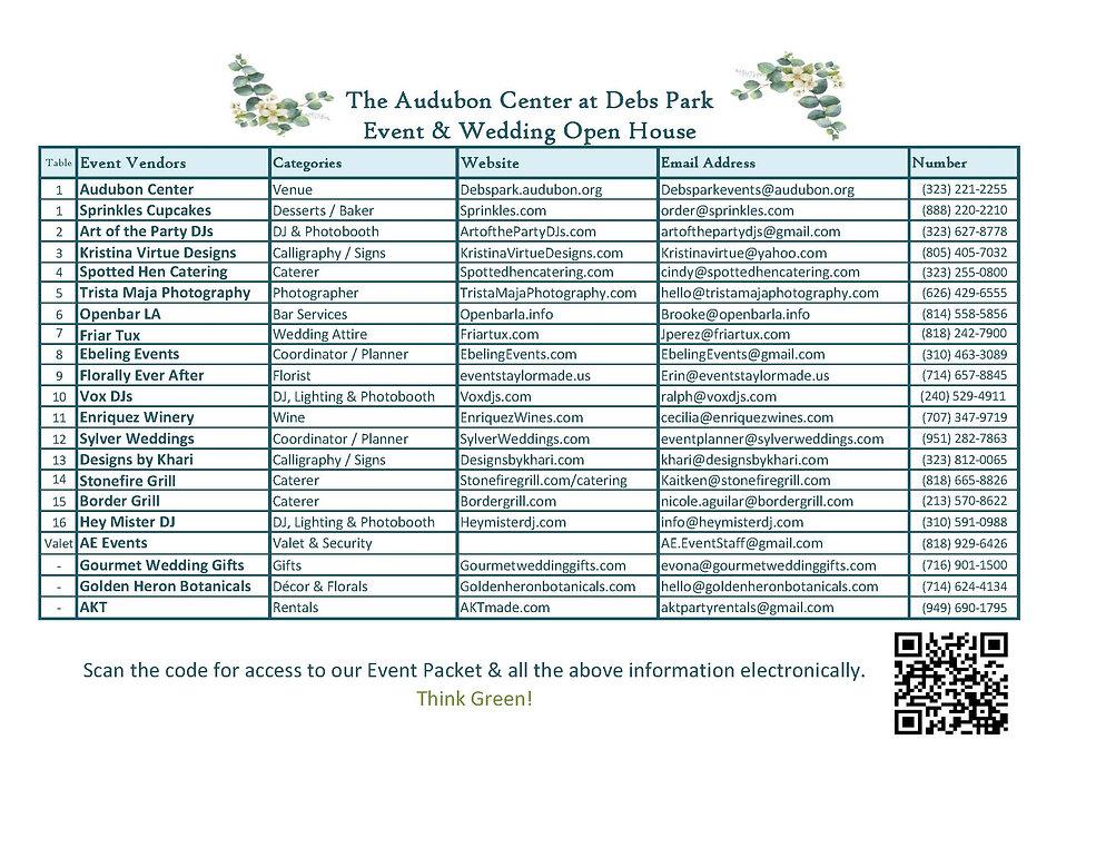 The Audubon Center Open House Vendor Lis