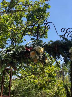 Elisa & Nick's Garden Wedding Ceremony Arch Flowers
