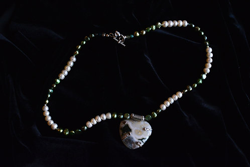 Anthony Buccieri and Susan Burnes Pearl  and Green Necklace