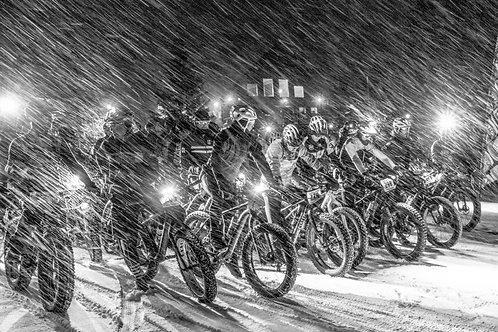 Winter Night Bike Metal Print