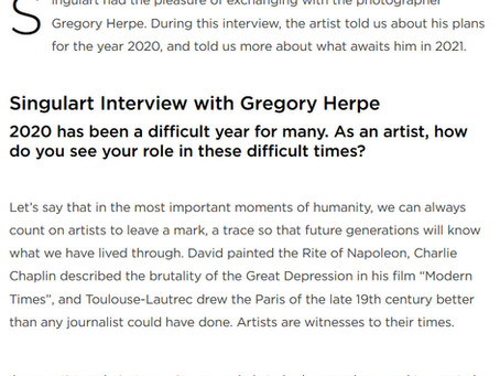 My new interview in the English edition of the Singulart Magazine