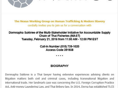 "MAST's leader spoke at ""the Nexus Working Group on Human Trafficking & Modern Slavery&q"