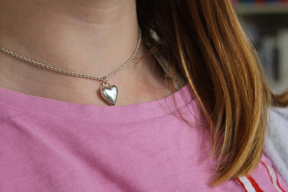 Silver Soild Sweet Heart Necklace