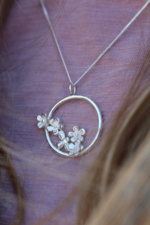 Silver Flower Blossom & Tiny Bee Necklace
