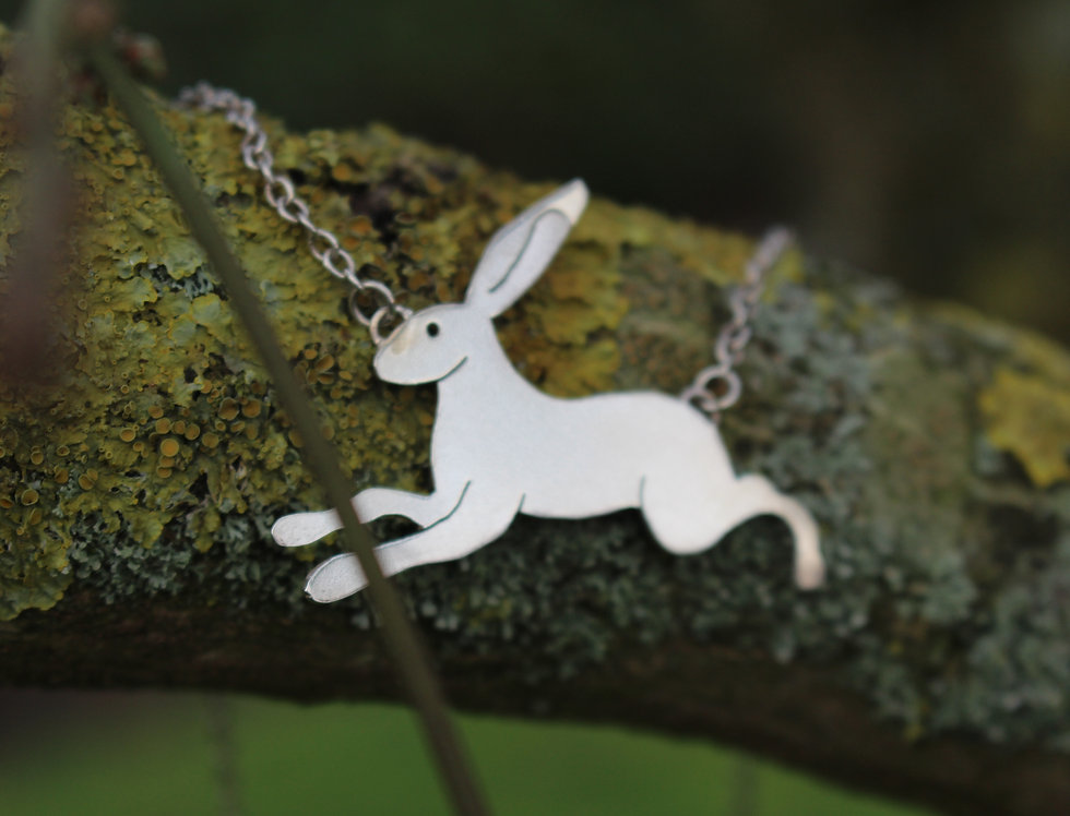 Silver Flat Hare Necklace