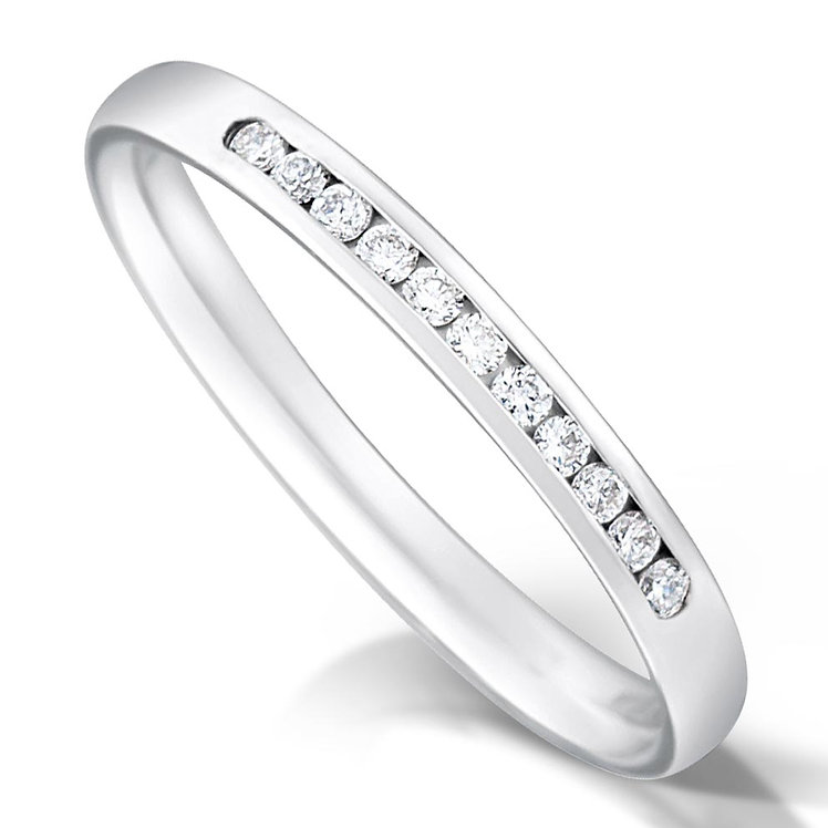 Thin Quater Channel Set Diamond Ring