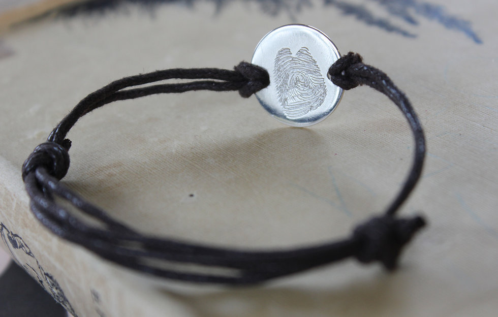Silver Real Fingerprint Leather Bracelet