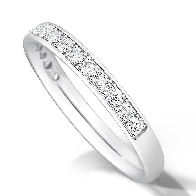 Half Pave Set Diamond Ring