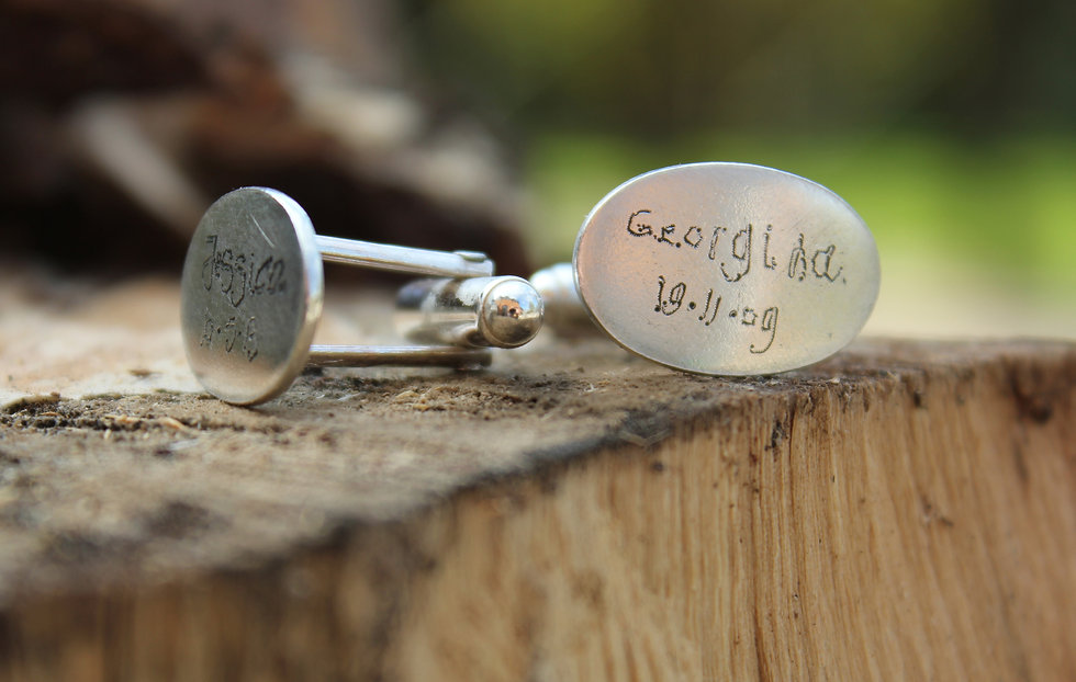 Silver Engraved Hand Written Cufflinks
