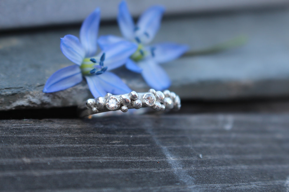 Silver Sparkle Rocky Road Ring