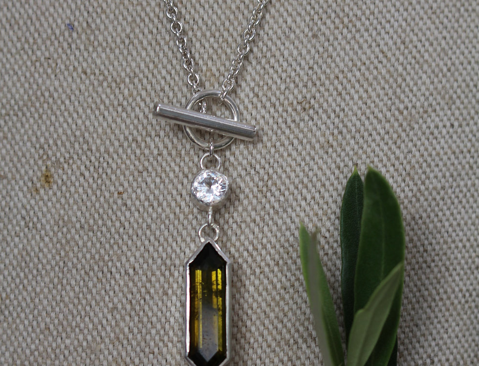 Silver and Olive Tourmaline Pendant