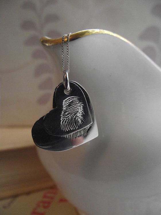 Silver Fingerprint Double Heart Pendant
