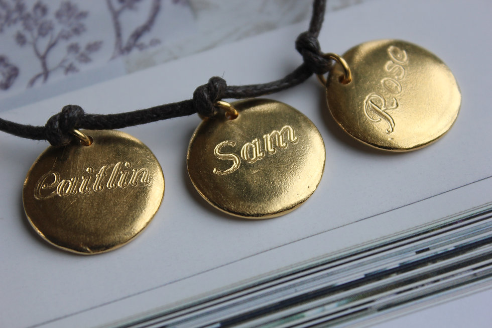 Personalised 3 Disc Charm Gold Plated Bracelet