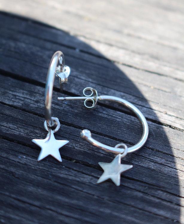 Silver Star Small Hoop Earrings