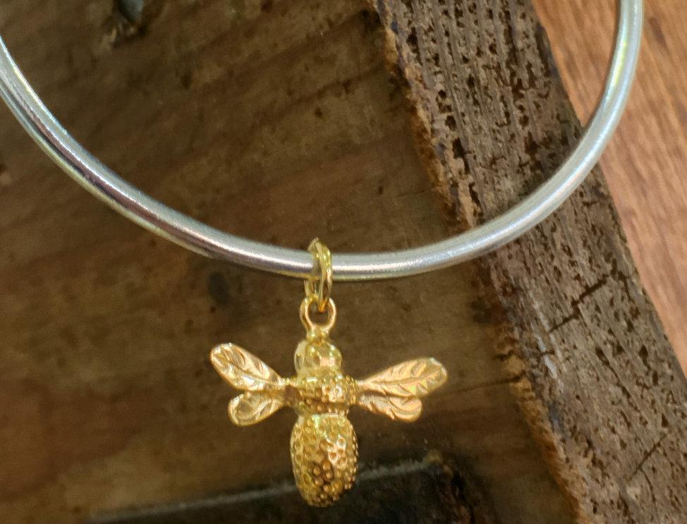 Silver Golden Bee Bangle