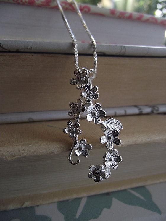 Silver Flower Garland Necklace