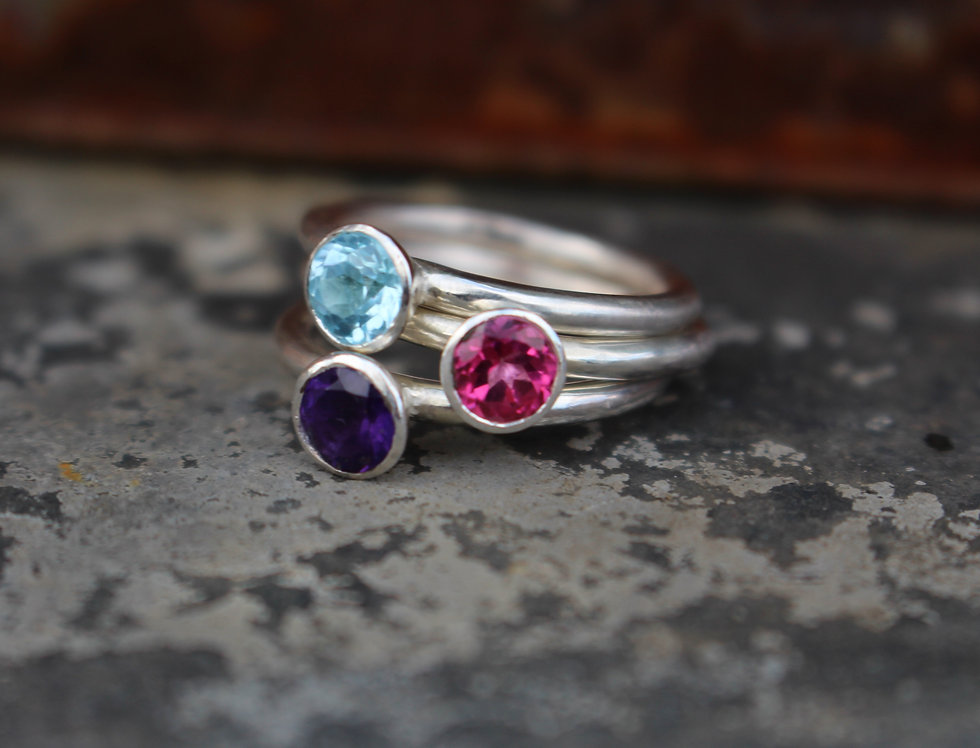 Silver Round Stackable Gemstone Ring